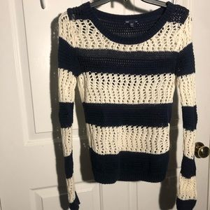 Navy and white striped crochet sweater